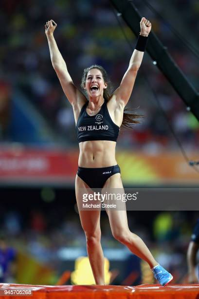 Eliza McCartney of New Zealand celebrates in the Women's Pole Vault during athletics on day nine of the Gold Coast 2018 Commonwealth Games at Carrara...