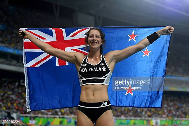 Eliza Mccartney of New Zealand celebrates winning bronze in the Women's Pole Vault Final on Day 14 of the Rio 2016 Olympic Games at the Olympic...