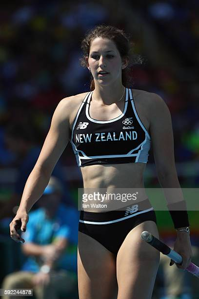 Eliza Mccartney of New Zealand competes during the Women's Pole Vault qualifying round on Day 11 of the Rio 2016 Olympic Games at the Olympic Stadium...