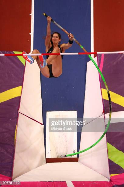 Eliza Mccartney of New Zealand competes in the Pole Vault Womens Final during the IAAF World Indoor Championships on Day Three at Arena Birmingham on...