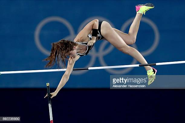 Eliza Mccartney of New Zealand competes in the Women's Pole Vault Final on Day 14 of the Rio 2016 Olympic Games at the Olympic Stadium on August 19,...