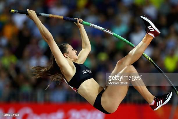 Eliza McCartney of New Zealand competes in the Women's Pole Vault during athletics on day nine of the Gold Coast 2018 Commonwealth Games at Carrara...