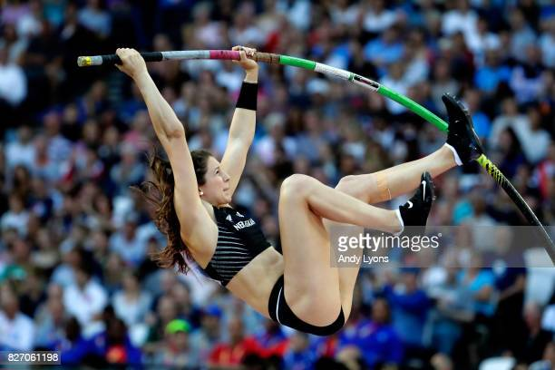 Eliza McCartney of New Zealand competes in the Women's Pole Vault final during day three of the 16th IAAF World Athletics Championships London 2017...