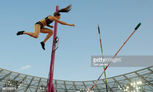 Eliza McCartney of New Zealand fails to clear a height in the final of the womens pole vault during day three of the IAAF World Athletics...
