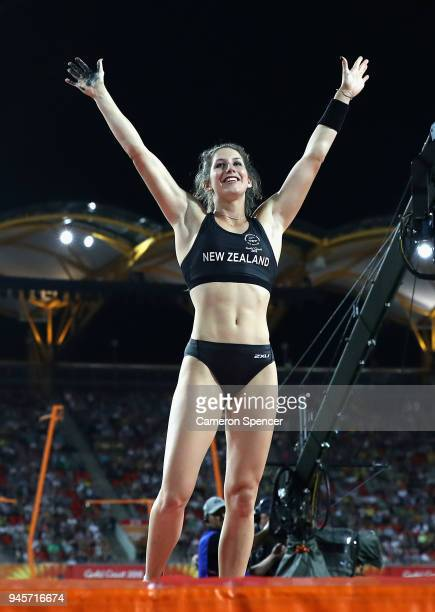 Eliza McCartney of New Zealand reacts in the Women's Pole Vault during athletics on day nine of the Gold Coast 2018 Commonwealth Games at Carrara...