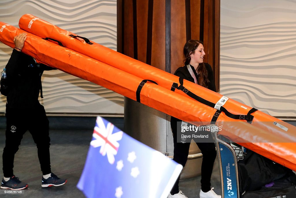 Eliza McCartney, silver medal for pole vault during the Welcome Home Function at Novotel on April 16, 2018 in Auckland, New Zealand.