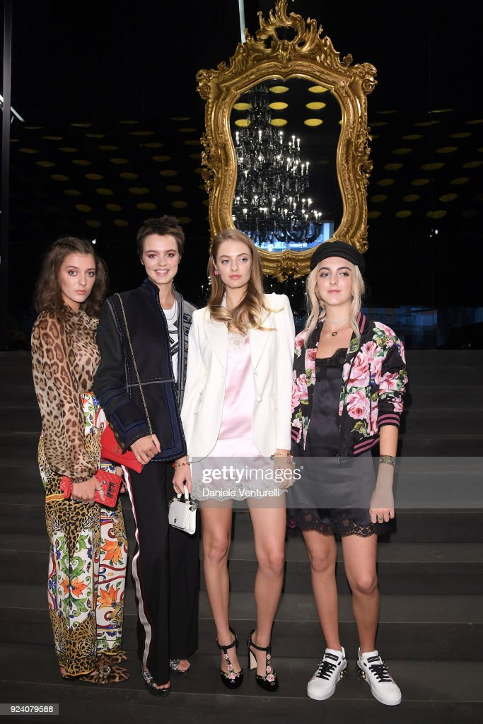 Eliza Moncreiffe, Alexandra Moncreiffe, Idina Moncreiffe and Lily Moncreiffe attend the Dolce & Gabbana show during Milan Fashion Week Fall/Winter 2018/19 on February 25, 2018 in Milan, Italy.