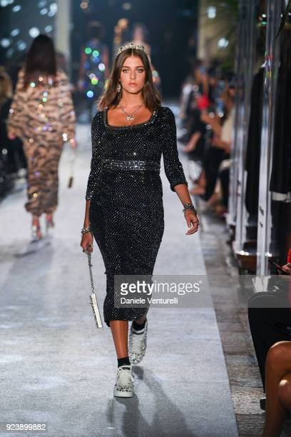 Eliza Moncreiffe walks the runway at the Dolce Gabbana show during Milan Fashion Week Fall/Winter 2018/19 on February 24 2018 in Milan Italy