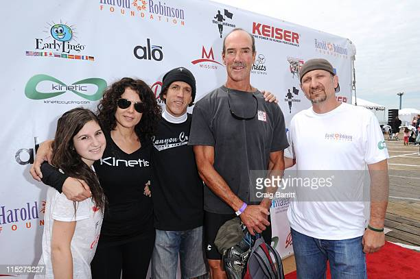 Eliza Robinson Joyce Hyser Jeff Robinson Mike Newman and David Moss attend the Harold Robinson Foundation Pedal On The Pier event at Santa Monica...