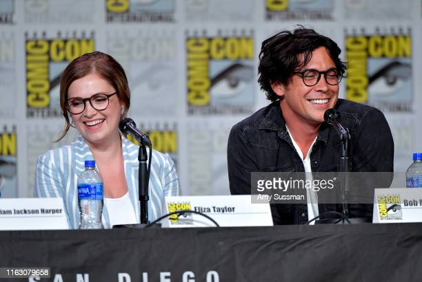 Eliza Taylor and Bob Morley speak at the TV Guide Magazine Fan Favorites 2019 during 2019 ComicCon International at San Diego Convention Center on...