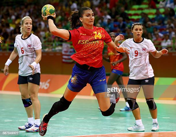 Elizabet Hernandez Chavez of Spain takes a shot as Heidi Loke and Nora Mork of Norway defend on Day 3 of the Rio 2016 Olympic Games at the Future...