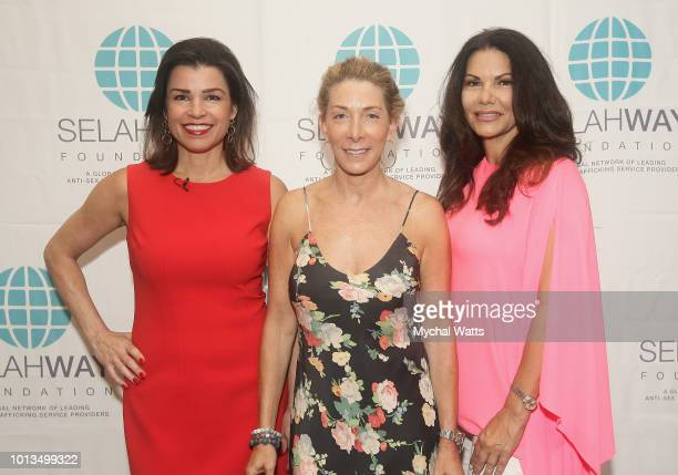 Elizabet Mendez Fisher Robin Rabin and publicist from Indra PR MJ Pedone attend the Selah Way Foundation Luncheon at Wells Fargo 42nd St on August 8...
