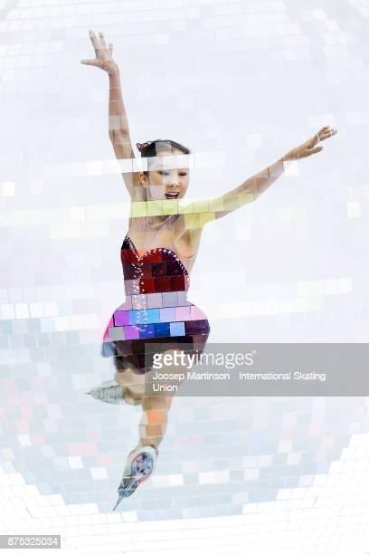 Elizabet Tursynbaeva of Kazakhstan competes in the Ladies Short Program during day one of the ISU Grand Prix of Figure Skating at Polesud Ice Skating...