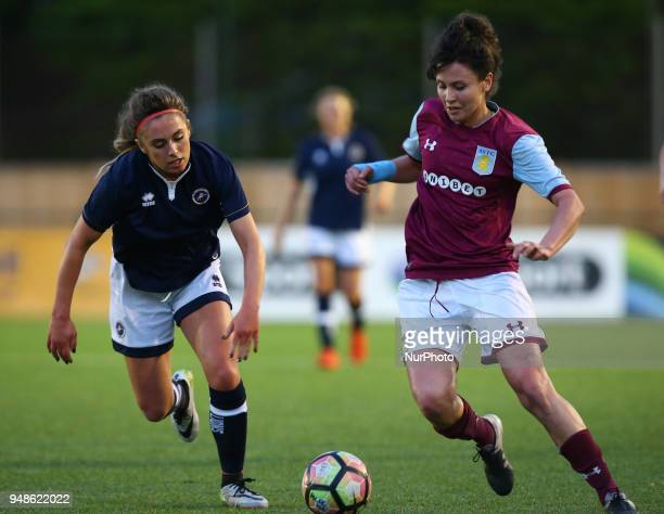 Elizabeta Ejupi of Aston Villa Ladies FC holds of Amber Gaylor of Millwall Lionesses LFC during FA Women's Super League 2 match between Millwall...