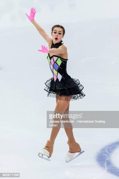 Elizabete Jubkane of Latvia competes in the Junior Ladies Short Program during day one of the ISU Junior Grand Prix of Figure Skating at Minsk Arena...