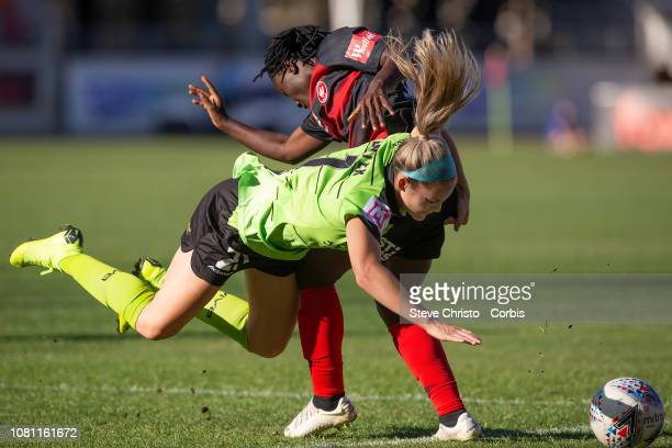 Elizabeth Addo of the Wanderers is challenged by Ellie Carpenter of Canberra United during the round six W-League match between the Western Sydney...