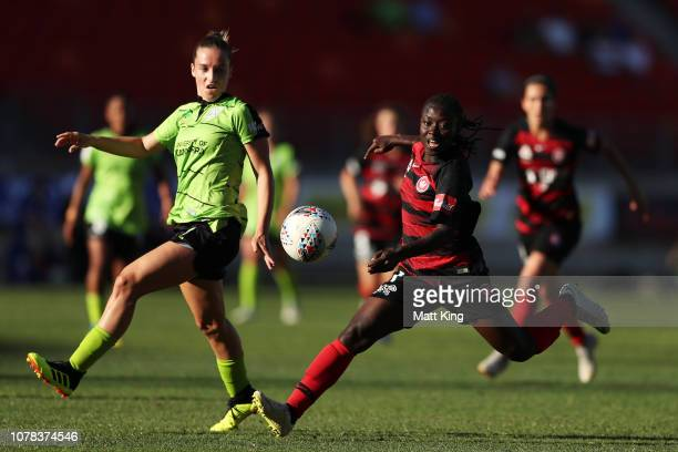Elizabeth Addo of the Wanderers is challenged by Nikola Orgill of Canberra United during the round six W-League match between the Western Sydney...