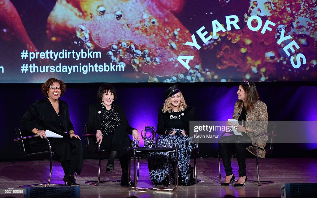 Elizabeth Alexander, Marilyn Minter, Madonna and director of Brooklyn Museum Anne Pasternak speak on stage at Brooklyn Museum on January 19, 2017 in New York City.