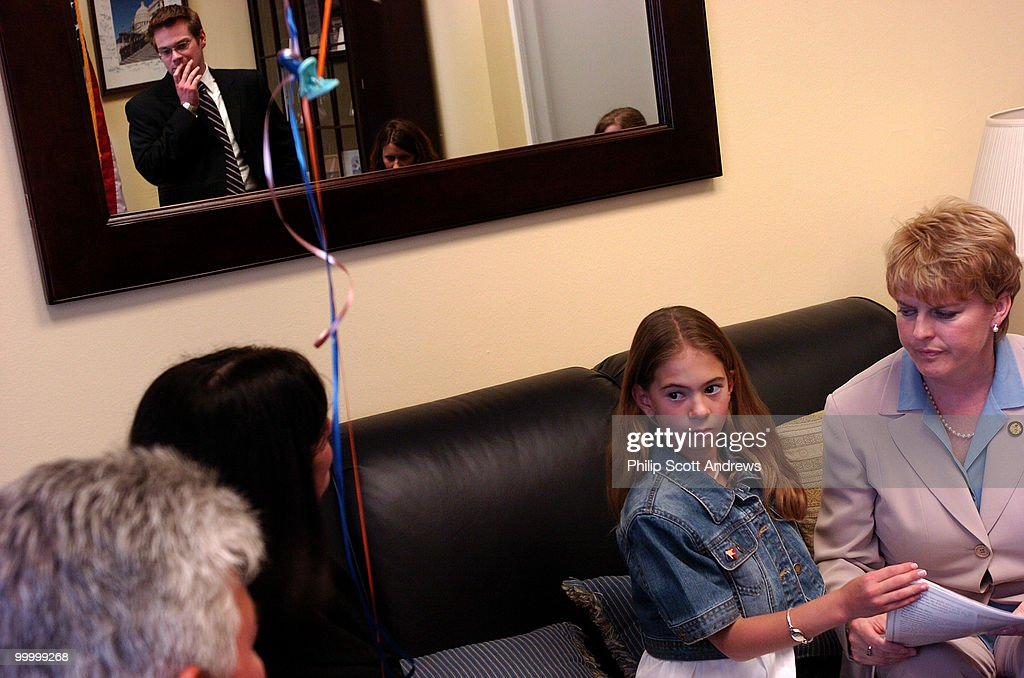Elizabeth Amato (11) sits with Bean, D-Ill,. Blank came to Washington Monday to lobby Congress for their support for Medicaid and Children's Hospitals.