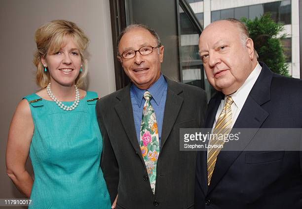 Elizabeth Ann Tilson Peter Bart and Roger Ailes during Book Party for Peter Bart's Boffo June 26 2006 at Royalton Hotel in New York New York United...