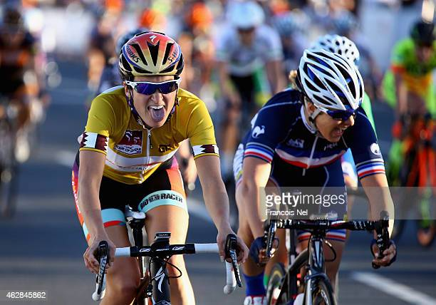 Elizabeth Armitstead of Great Britain and Boels Dolmans Cycling celebrate after winning the 2015 Ladies Tour of Qatar on February 6 2015 in Doha Qatar