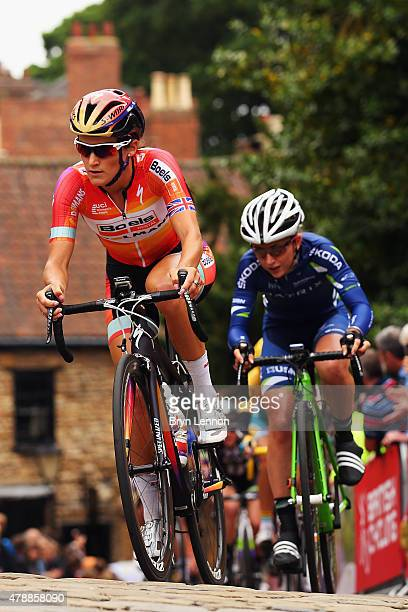 Elizabeth Armitstead of Great Britain and the Boels Dolmans Cycling Team leads Laura Trott of Great Britain and the Matrix Fitness team up the...