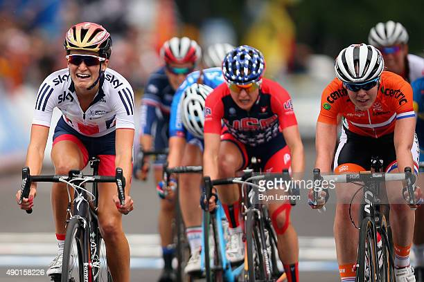 Elizabeth Armitstead of Great Britain reacts to winning the Elite Women's Road Race on day seven of the UCI Road World Championships on September 26,...