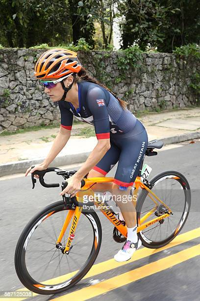 Elizabeth Armitstead of Great Britain rides during the Women's Road Race on Day 2 of the Rio 2016 Olympic Games at Fort Copacabana on August 7, 2016...