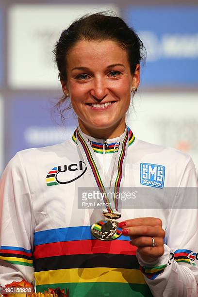 Elizabeth Armitstead of Great Britain stands on the podium after winning the Elite Women's Road Race on day seven of the UCI Road World Championships...