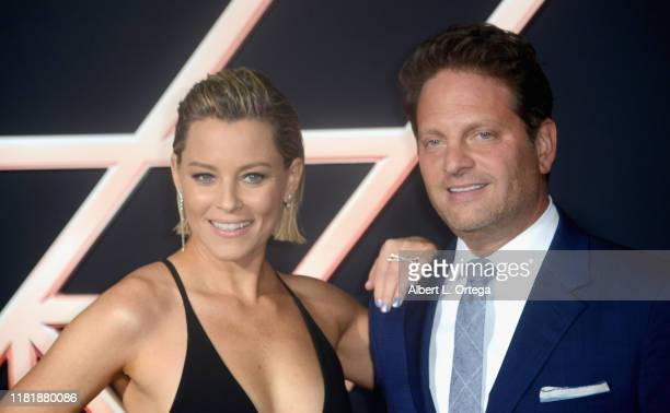 Elizabeth Banks and her husband Max Handelman arrive for the Premiere Of Columbia Pictures' Charlie's Angels held at Westwood Regency Theater on...