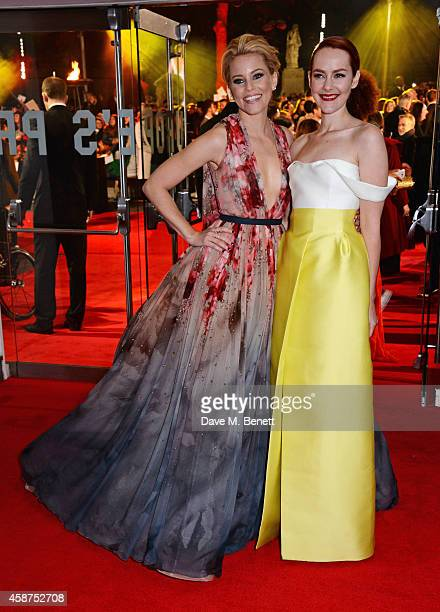 Elizabeth Banks and Jena Malone attends the World Premiere of The Hunger Games Mockingjay Part 1 at Odeon Leicester Square on November 10 2014 in...