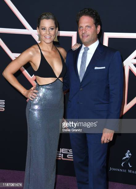Elizabeth Banks and Max Handelman arrives at the Premiere Of Columbia Pictures' Charlies Angels at Westwood Regency Theater on November 11 2019 in...