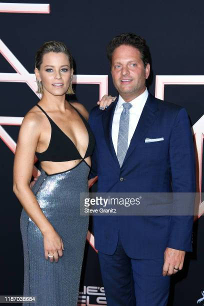 Elizabeth Banks and Max Handelman attend the premiere of Columbia Pictures' Charlie's Angels at Westwood Regency Theater on November 11 2019 in Los...