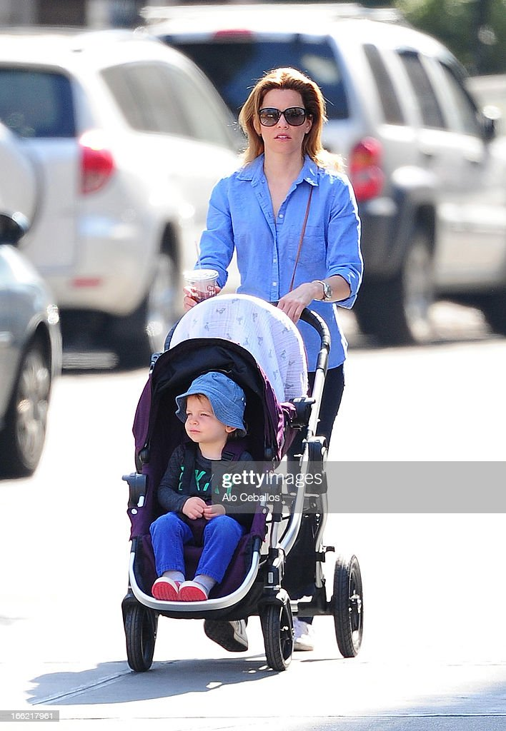 Elizabeth Banks and son Felix Handelman are seen in the West Village on April 10, 2013 in New York City.