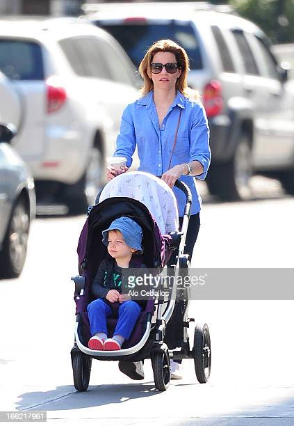 Elizabeth Banks and son Felix Handelman are seen in the West Village on April 10 2013 in New York City