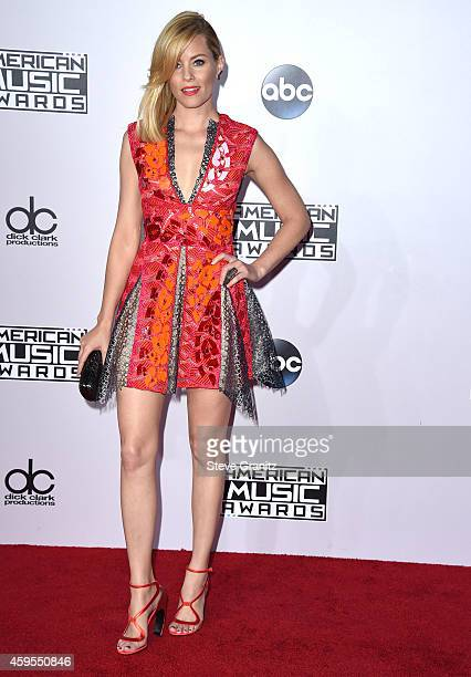 Elizabeth Banks arrives at the 2014 American Music Awards Arrivals at Nokia Theatre LA Live on November 23 2014 in Los Angeles California