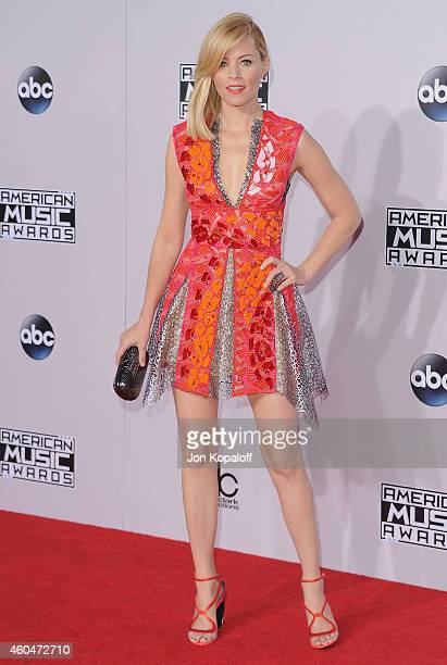 Elizabeth Banks arrives at the 2014 American Music Awards at Nokia Theatre LA Live on November 23 2014 in Los Angeles California