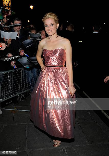 Elizabeth Banks arrives at The Hunger Games: Mockingjay - Part 1 after party on November 10, 2014 in London, England.