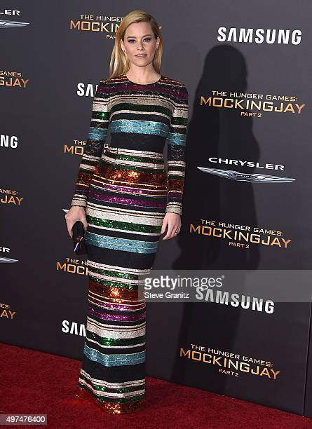 Elizabeth Banks arrives at the Premiere Of Lionsgate's The Hunger Games Mockingjay Part 2 at Microsoft Theater on November 16 2015 in Los Angeles...