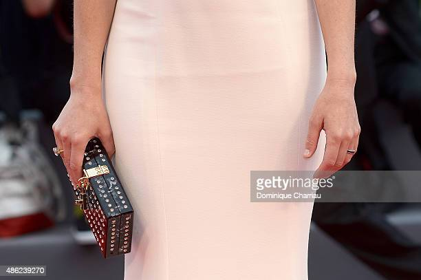 Elizabeth Banks bag detail attends the opening ceremony and premiere of 'Everest' during the 72nd Venice Film Festival on September 2 2015 in Venice...