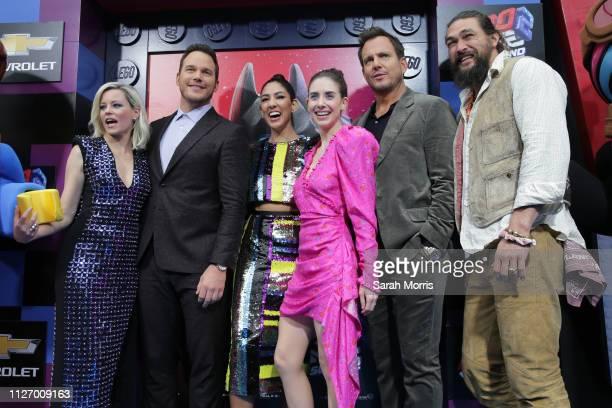 Elizabeth Banks Chris Pratt Stephanie Beatriz Alison Brie Will Arnett and Jason Momoa attend the premiere of Warner Bros Pictures' 'The Lego Movie 2...