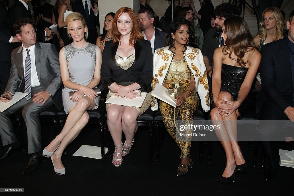 Elizabeth Banks, Christina Hendricks, M.I.A. and Jessica Alba attend the Versace Haute-Couture Show as part of Paris Fashion Week Fall / Winter 2012/13 on July 1, 2012 in Paris, France.