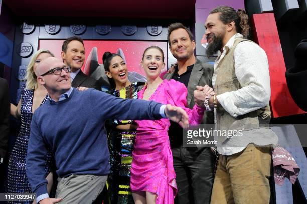 Elizabeth Banks director Mike Mitchell Chris Pratt Stephanie Beatriz Alison Brie Will Arnett and Jason Momoa attend the premiere of Warner Bros...