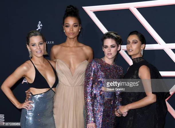 "Elizabeth Banks, Ella Balinska, Kristen Stewart, and Naomi Scott attend the premiere of Columbia Pictures' ""Charlie's Angels"" at Westwood Regency..."
