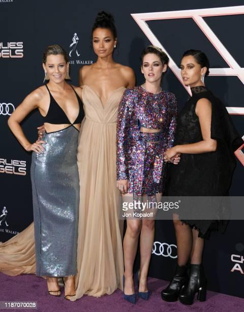 "Elizabeth Banks, Ella Balinska, Kristen Stewart and Naomi Scott attend the premiere of Columbia Pictures' ""Charlie's Angels"" at Westwood Regency..."