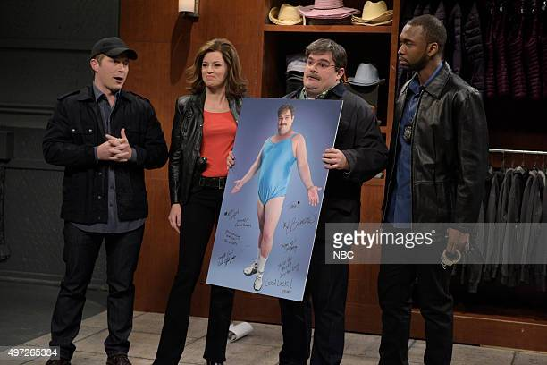 LIVE Elizabeth Banks Episode 1688 Pictured Beck Bennett Elizabeth Banks as Abbey Langley Bobby Moynihan as Arnold and Jay Pharoah as Marcus Duke...