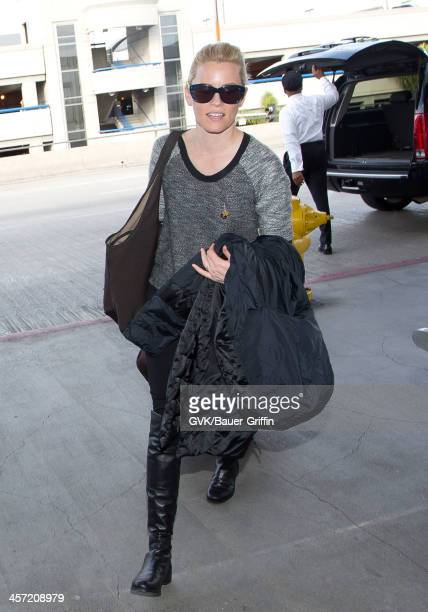 Elizabeth Banks is seen arriving at LAX airport on December 16 2013 in Los Angeles California