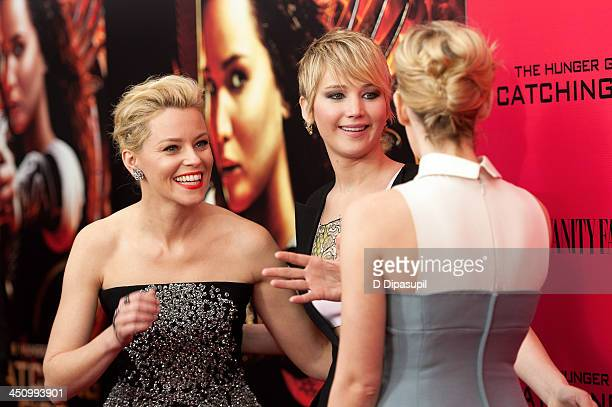 Elizabeth Banks Jennifer Lawrence and Jena Malone attend the Hunger Games Catching Fire New York Premiere at AMC Lincoln Square Theater on November...
