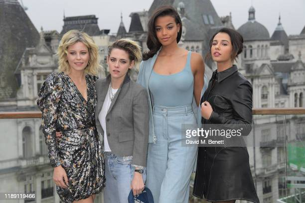 "Elizabeth Banks, Kristen Stewart, Ella Balinska and Naomi Scott attend a photocall for ""Charlie's Angels"" at The Corinthia Hotel London on November..."