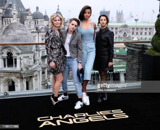 "Elizabeth Banks, Kristen Stewart, Ella Balinska and Naomi Scott attend attends the ""Charlie's Angels"" photocall at The Corinthia Hotel on November..."